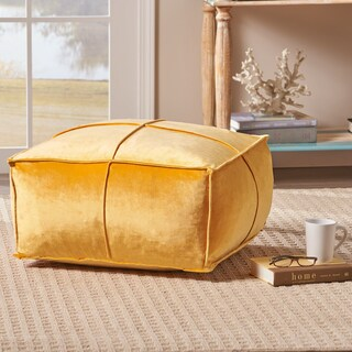 Nakisha Velvet Square Bean Bag Ottoman by Christopher Knight Home