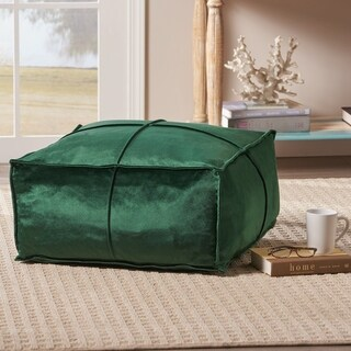 Nakisha Velvet Square Bean Bag Ottoman by Christopher Knight Home