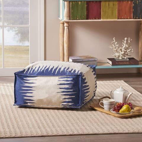 Flavia Fabric Square Bean Bag Ottoman by Christopher Knight Home