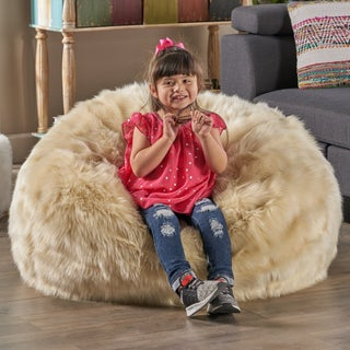 Warrin Furry Glam Faux Fur 3 Ft. Bean Bag by Christopher Knight Home
