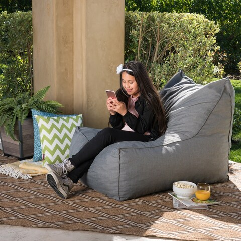Tulum Outdoor Water Resistant Fabric Bean Bag Lounger by Christopher Knight Home