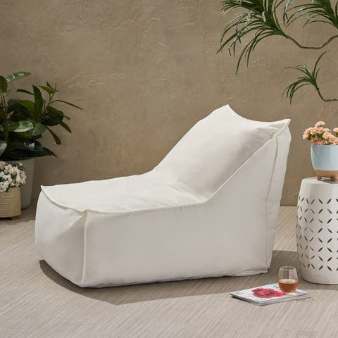 Tulum Indoor/Outdoor Water Resistant Fabric Bean Bag Lounger by Christopher Knight Home