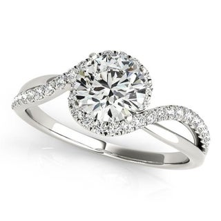 Auriya 14k Gold Bypass Infinity 1/5ct TDW Halo Diamond and 1ct Moissanite Engagement Ring
