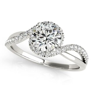 Auriya 14k Gold Bypass Infinity 1/5ct TDW Halo Diamond and 1 1/2ct Moissanite Engagement Ring
