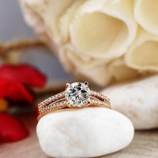 Moissanite by Auriya 14k Gold 1/2 carat TGW and 1/5ctw Diamond Engagement Ring