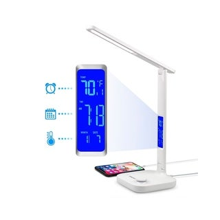 INNOKA 180 Degree Adjustable Dimmable LED Desk Lamp with 3 Lighting Modes, USB Charging Port, LCD Temperature/Time Display