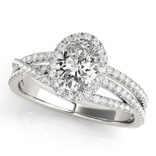 Auriya 14k Gold 3/8cttw Halo Diamond and 1 1/2ct Round Moissanite and 3/8ct TDW Halo Diamond Engagement Ring