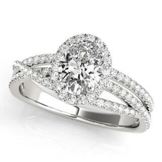 Auriya 14k Gold 3/8cttw Halo Diamond and 3ct Round Moissanite and 3/8ct TDW Halo Diamond Engagement Ring
