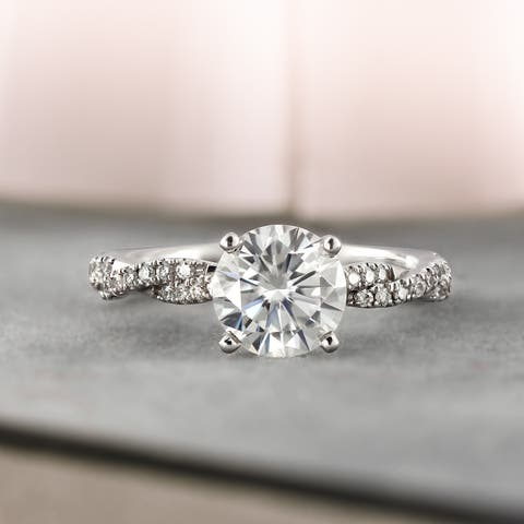 Auriya Twisted Round 1 1/2ct Moissanite and 1/5ctw Diamond Engagement Ring 14k Gold