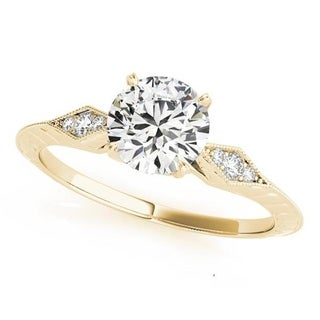 Auriya 14k Gold Vintage Inspired 1/10ctw Diamond and 1/2ct Round Moissanite Engagement Ring