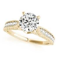 Auriya 14k Gold Vintage Inspired 1/5cttw Diamond and 2 1/2ct Round Moissanite Engagement Ring
