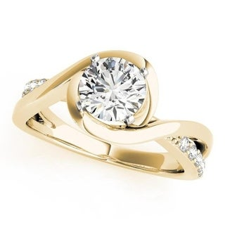 Auriya 14k Gold Modern 1/8cttw Diamond and 3/4ct Round Moissanite Bypass Engagement Ring