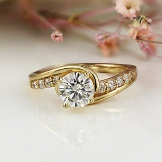 Auriya 14k Gold Modern 1/4cttw Diamond and 1 1/2ct Round Brilliant Moissanite Engagement Ring