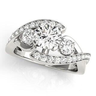 Auriya Round 2ct Moissanite and 5/8ctw 3-Stone Diamond Engagement Ring 14K Gold