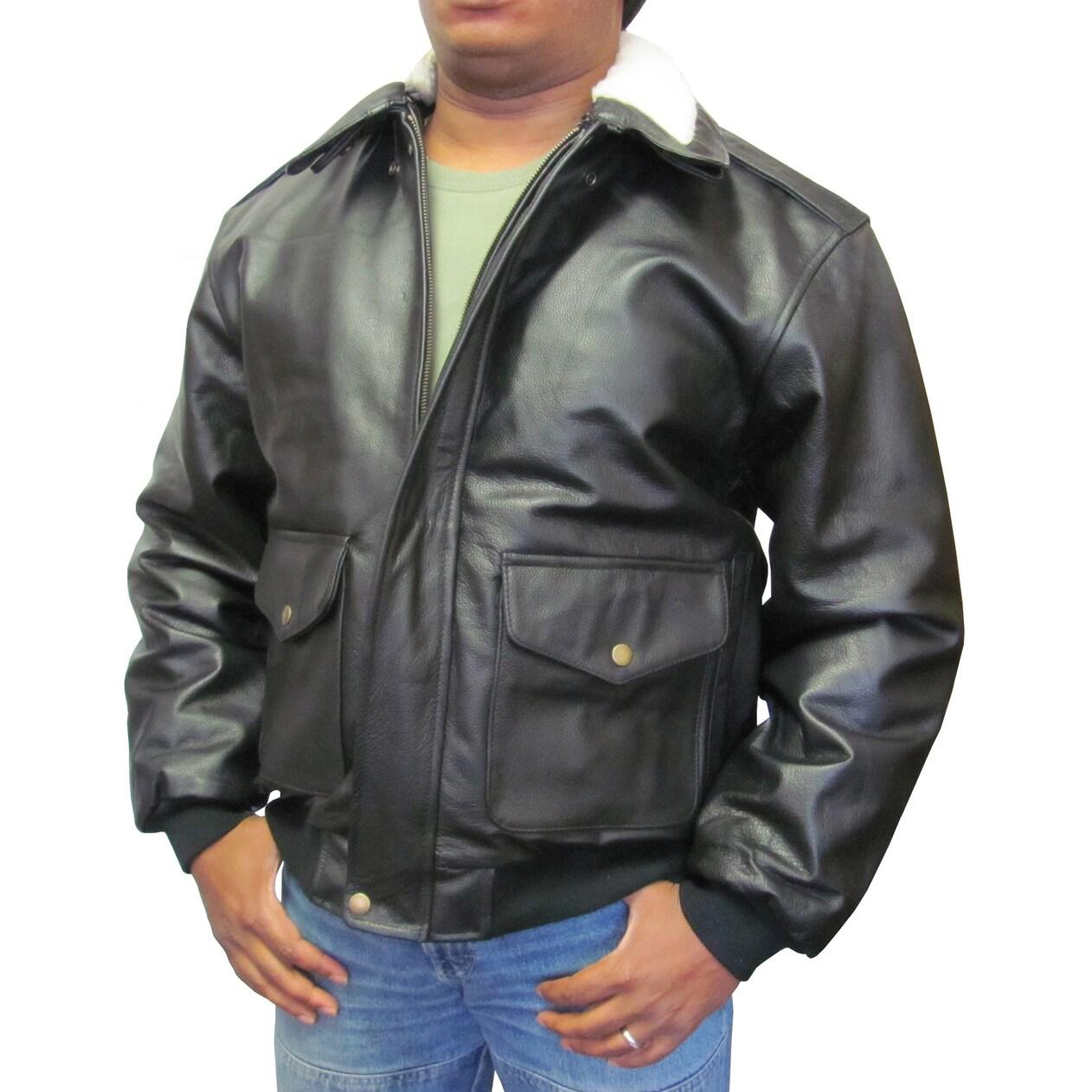 Amerileather Men's Black Leather Bomber Jacket (Black- L)