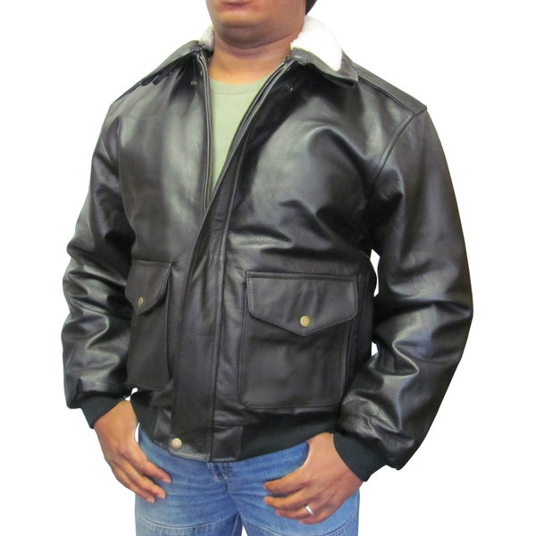 Amerileather Men&39s Black Leather Bomber Jacket - Free Shipping