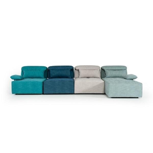 Divani Casa Jamie Modern Multi-Colored Blue Fabric Sectional
