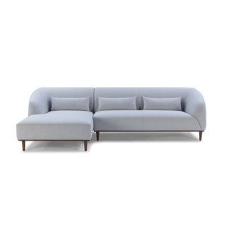 Divani Casa Venus Mid Century Modern Grey Fabric Sectional w/ Left Facing Chaise