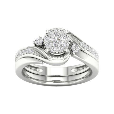 De Couer 10k Gold 1/3ct TDW Diamond Bypass Bridal Set