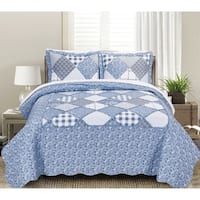Asher Home Yvette Floral and Plaid Patchwork 3-piece Quilt Set