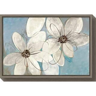 Canvas Art Framed 'Blue and Neutral Floral' by Silvia Vassileva
