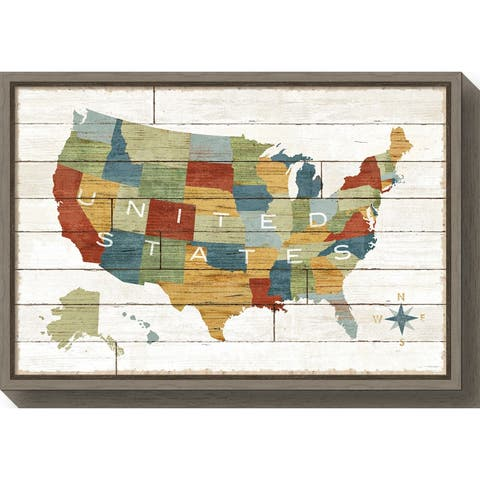 Canvas Art Framed 'Barnboard Map' by Sue Schlabach