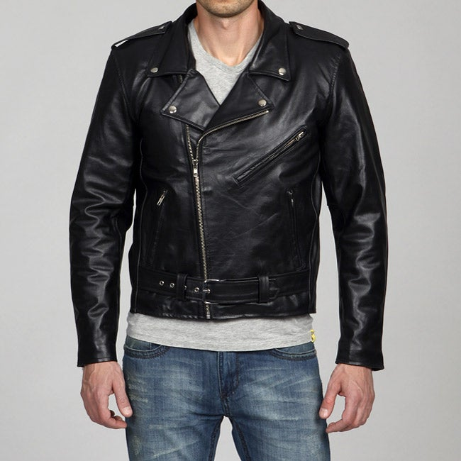 Amerileather Men's Black Leather Biker Jacket - Free Shipping ...