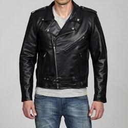 Amerileather Men's Black Leather Biker Jacket