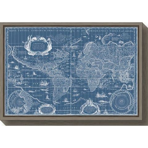 Canvas Art Framed 'Blueprint World Map' by Willem Blaeu
