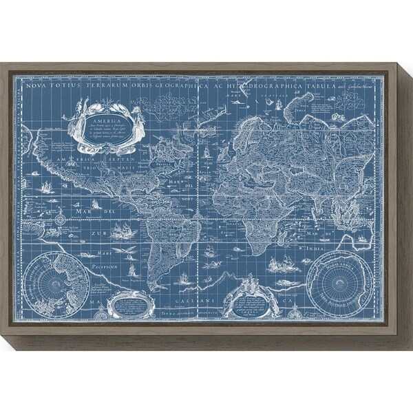 Blaeu World Map.Shop Canvas Art Framed Blueprint World Map By Willem Blaeu Free