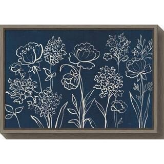 Canvas Art Framed 'Indigo Floral I' by Silvia Vassileva
