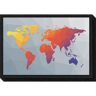 Canvas Art Framed 'Geo Map I' by Moira Hershey