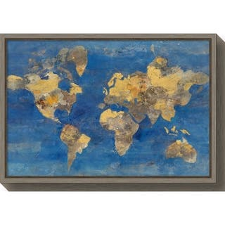 Canvas Art Framed 'Golden World Map' by Albena Hristova