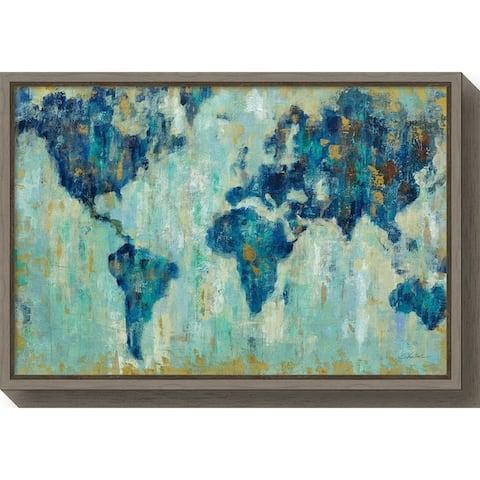 Canvas Art Framed 'Map of the World' by Silvia Vassileva