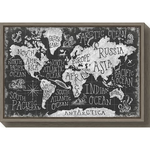 Canvas Art Framed 'Mythical Map I' by Mary Urban