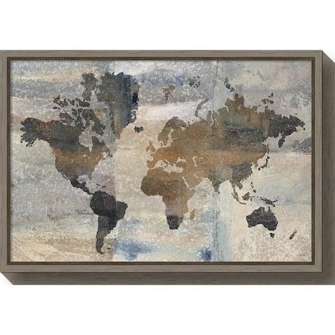 Canvas Art Framed 'Stone World (Map)' by Avery Tillmon