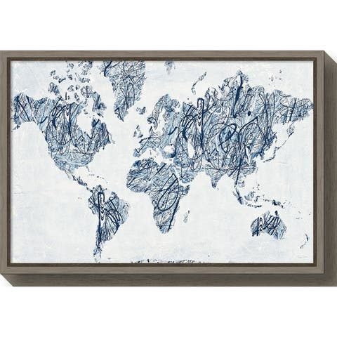 Canvas Art Framed 'World on a String Map' by Piper Rhue