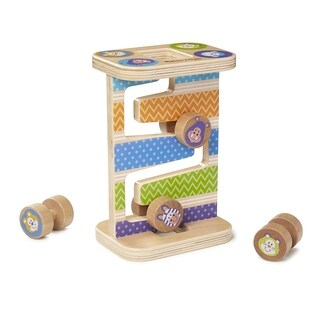 First Play Wooden Safari Zig-Zag Tower With 4 Rolling Pieces - N/A