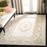 Safavieh Handmade Aubusson Traditional Oriental Ivory / Pink Wool Rug - 8' x 10'