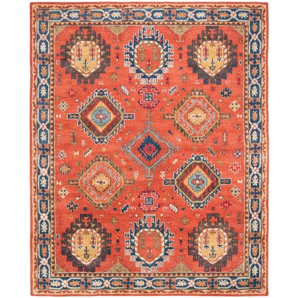 Safavieh Handmade Heritage Traditional Rust / Navy Wool Rug - 8' X 10'