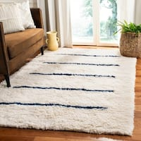 Safavieh Hand-Knotted Kenya Transitional Oriental Ivory / Navy Wool Rug - 8' x 10'