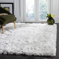 Safavieh Handmade Ocean Shag Glam Solid Ivory Polyester Rug - 8' x 10'