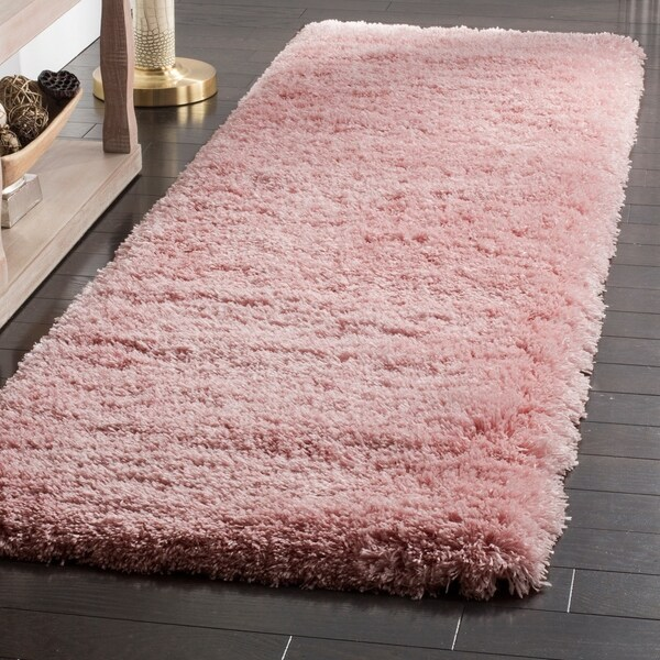 Shop Safavieh Polar Shag Solid Light Pink Polyester Rug