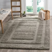 "Safavieh Shadow Box Shag Geometric Grey / Grey Rug - 9'6"" x 13'"