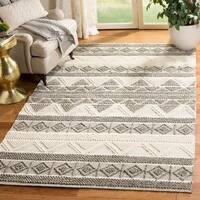 Safavieh Handmade Natura Southwestern Geometric Ivory / Grey Wool Rug - 9' x 12'