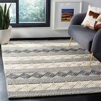 Safavieh Handmade Natura Southwestern Geometric Grey / Ivory Wool Rug - 9' x 12'