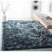 Safavieh Handmade Ocean Shag Glam Solid Silver Polyester Rug - 8' x 10'