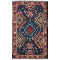 Safavieh Handmade Heritage Traditional Oriental Navy / Red Wool Rug - 3' x 5'