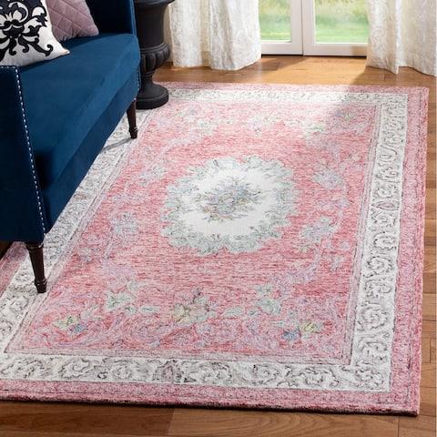 Safavieh Handmade Aubusson Traditional Oriental Red / Ivory Wool Rug - 4' x 6'