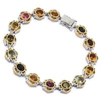 Michael Valitutti Palladium Silver Multi Color Tourmaline Scrollwork Halo Tennis Bracelet